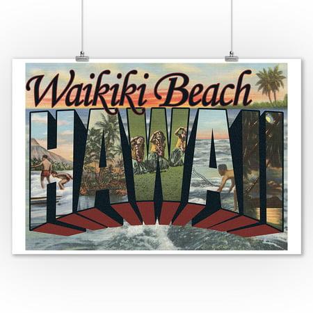Waikiki Beach, Hawaii - Large Letter Scenes (9x12 Art Print, Wall Decor Travel Poster) ()