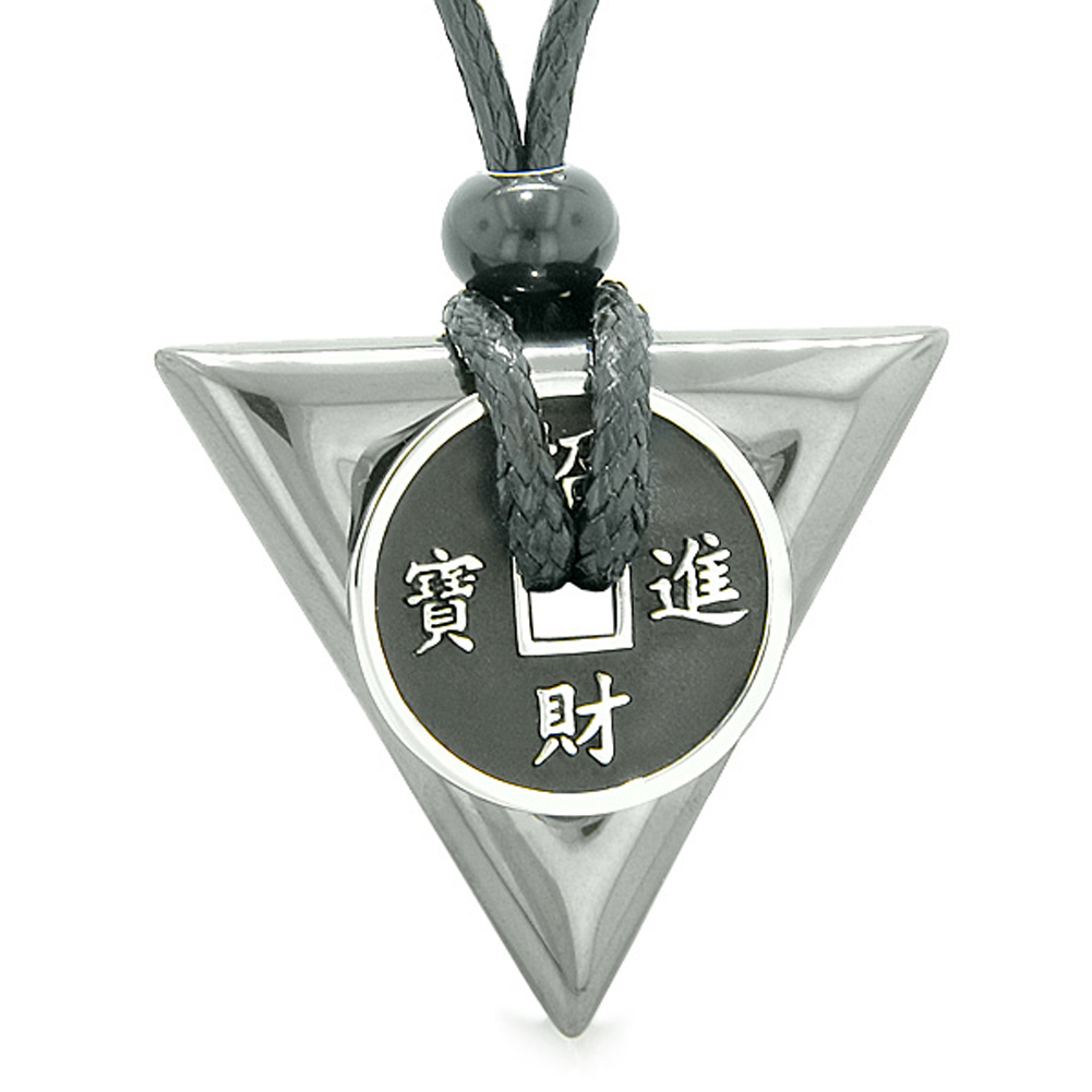 Amulet Lucky Coin Charm Triangle Pyramid Powers Spiritual Good Luck Energy Pendant Necklace