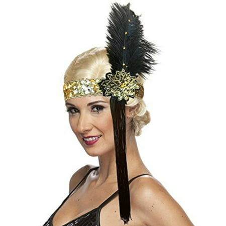 Roaring 20's Costume Sequin Flapper Headband with Feather and (Tassi Headband)