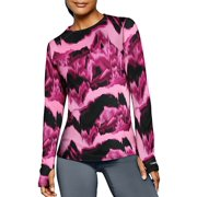 Duofold by Champion KDC3P Ther Matrix Women Printed Crew, Marzipan Pink & Berry Delight Washy Glitch - Extra Large