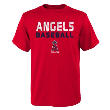 MLB Los Angeles ANGELS TEE Short Sleeve Boys Team Name and LOGO 100% Cotton Team Color