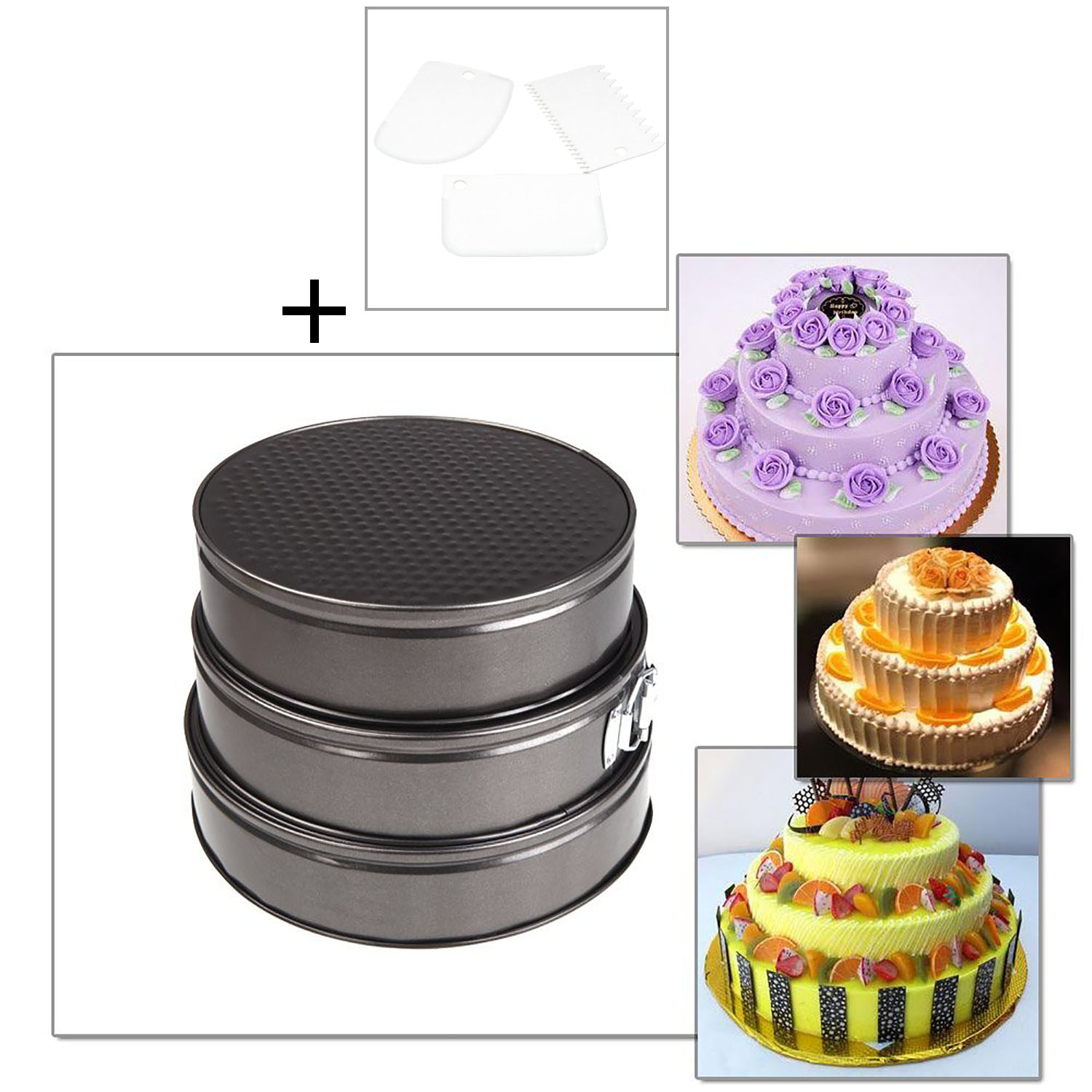 3Pcs Cheesecake Pans set, Round Non-stick Leakproof Baking Pans Cake Pans Springform Pans with 3 Cake Scrapers by Outgeek