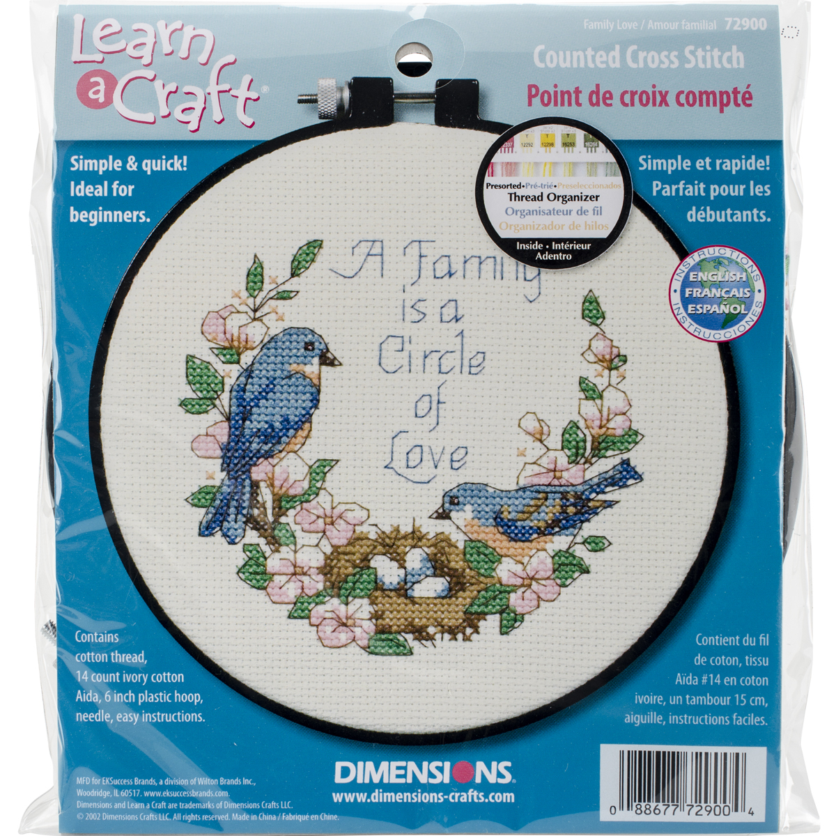 "Dimensions Learn-A-Craft ""Family Love"" Counted Cross Stitch Kit, 6"""