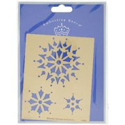 """Embossing Queen Brass Stencil 4""""x5""""-3 Snowflakes"""