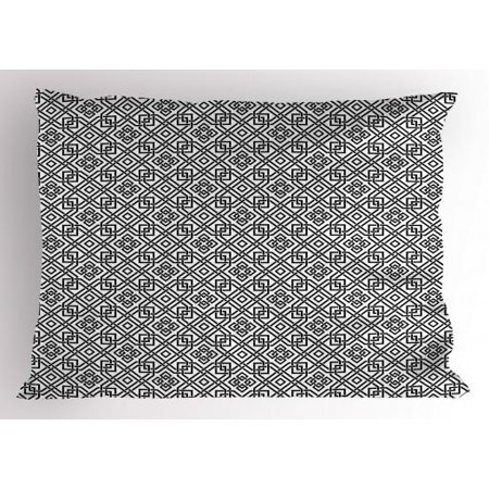 - Celtic Pillow Sham Illustration of Celtic Interlaced Pattern Traditional Everlasting Knot Motif, Decorative Standard Size Printed Pillowcase, 26 X 20 Inches, Black and White, by Ambesonne