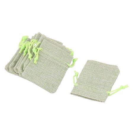 Bride Wedding Cotton Linen Gift Jewelry Drawstring Storage Bag Light Green 10pcs (Bride Bags)
