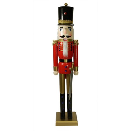 """36"""" Decorative Red and Gold Wooden Christmas Nutcracker Soldier with Sword"""