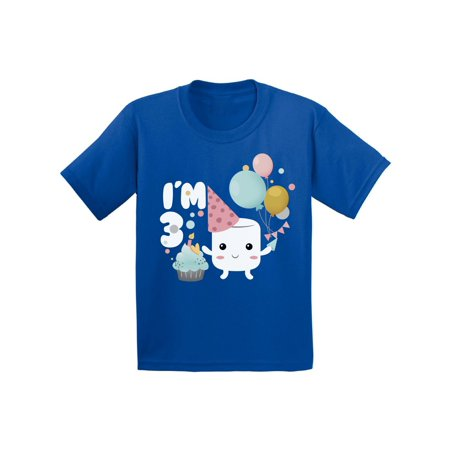 Awkward Styles Marshmallow Toddler Shirt for Kids I am 3 Shirts Tshirt for Boys Cute Tshirt for Girls Marshmallow B Day Gifts for 3 Years Old Toddler Shirt Kids Party Marshmallow
