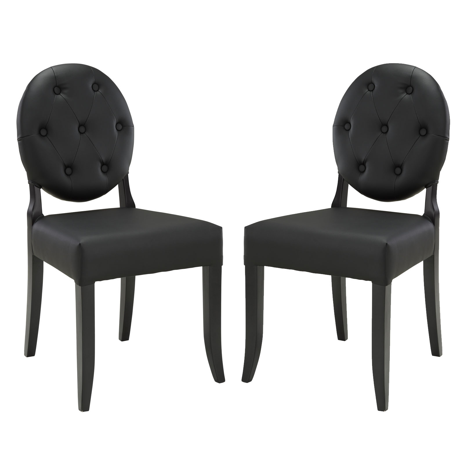 Modern Contemporary Kitchen Dining Side Chair Set of Two Black