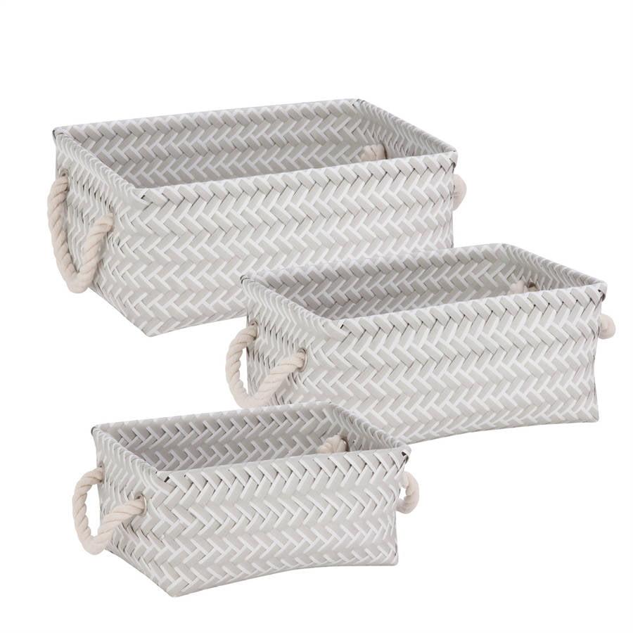 Honey-Can-Do Zig Zag, Set of 3 Baskets, Gray
