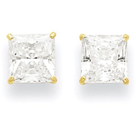 CZ 14kt Yellow Gold 6mm Square Post Earrings 14k Cubic Zirconia Earring Princess Stud