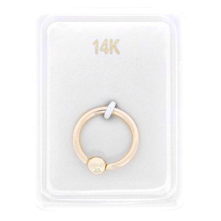 Eyebrow Captive Bead Ring (14K Yellow Gold Captive Bead Hoop Lip Eyebrow Cartilage Tragus Nose Ring)