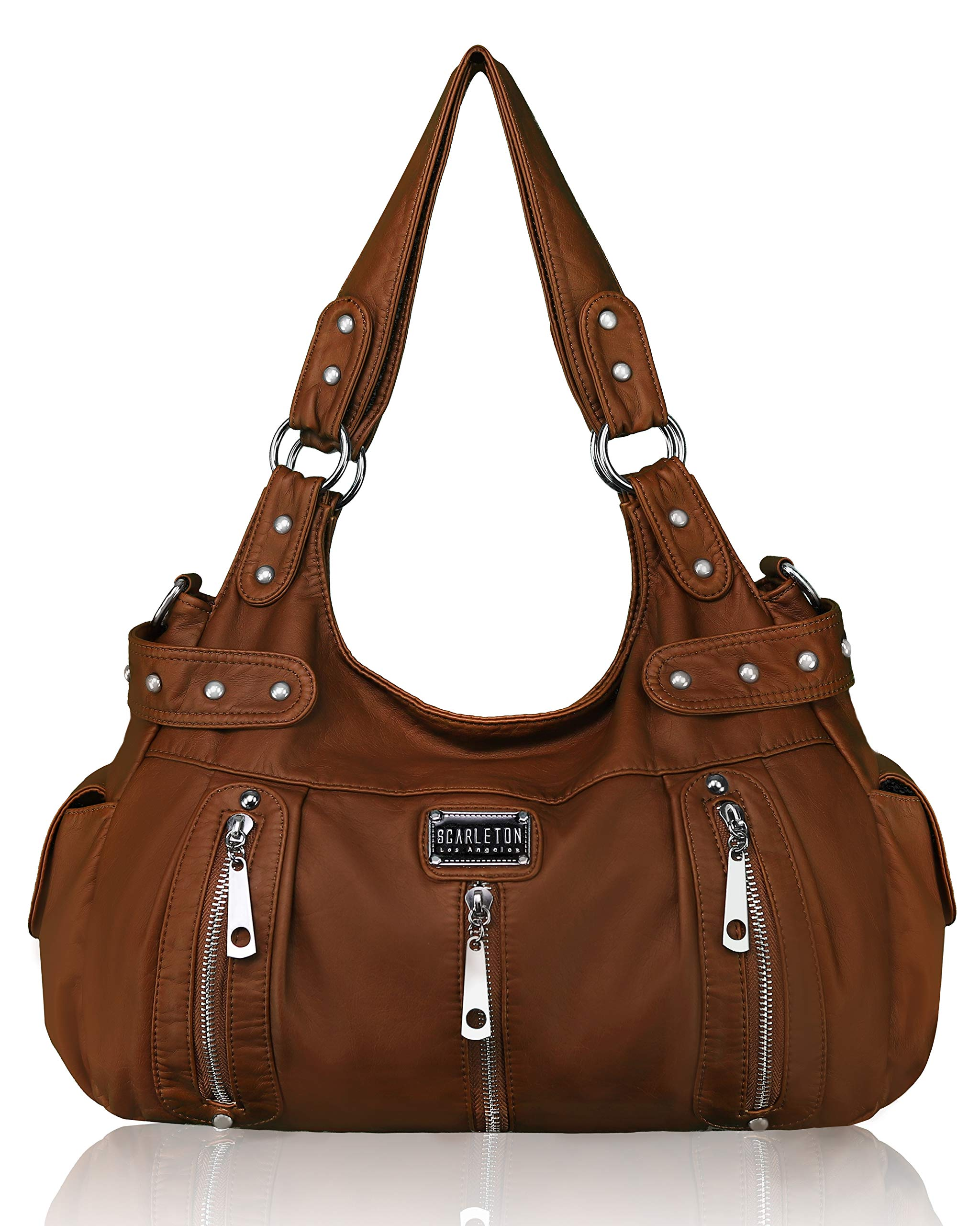 Personalized Superhero in the City Hobo Purse w//Genuine Leather Trim Front /& Back
