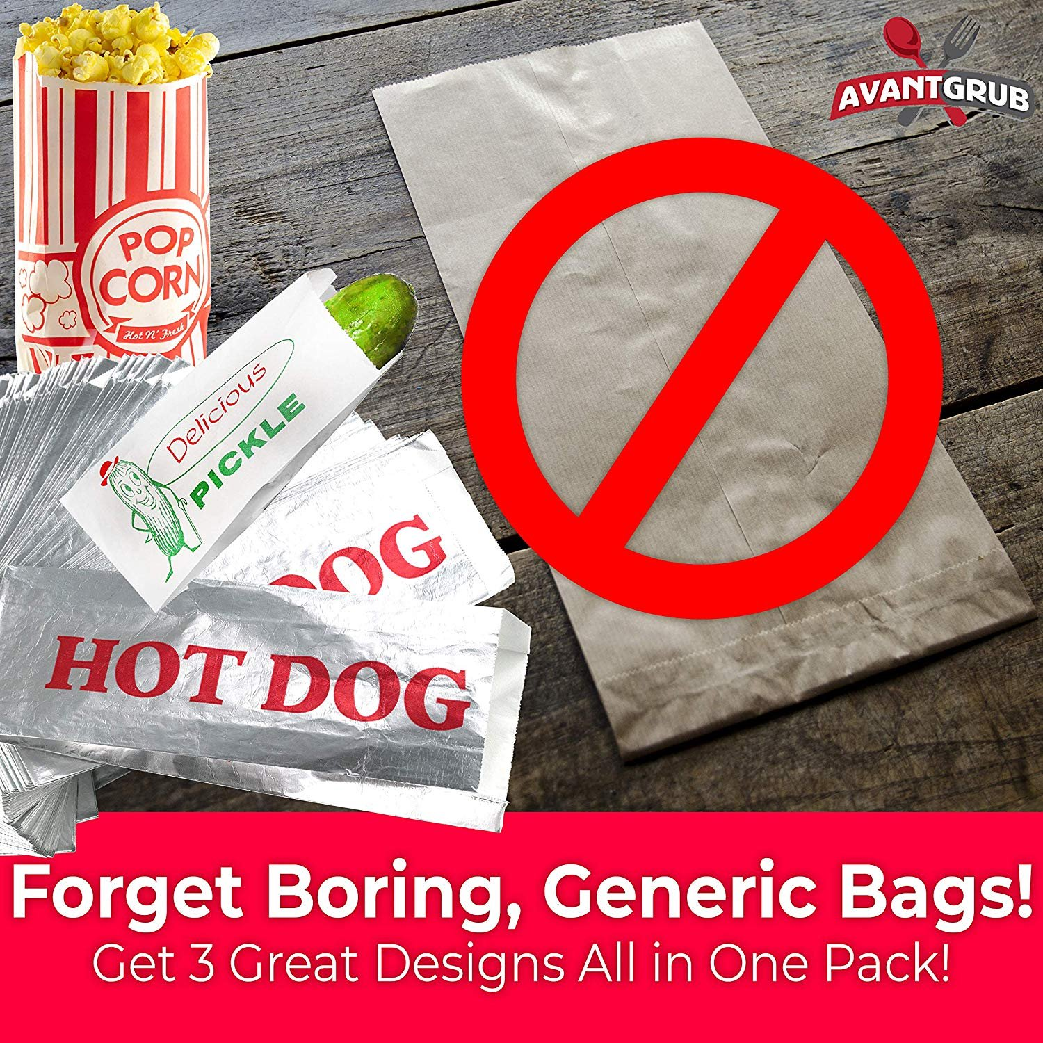 Turn Your Party into a Carnival with Paper Snack Sacks That Keep Pickles Contained and Fundraiser or Concession Stand Guests Mess-Free! Classic Vintage Design Dill Pickle Bag 100 Pack by Avant Grub