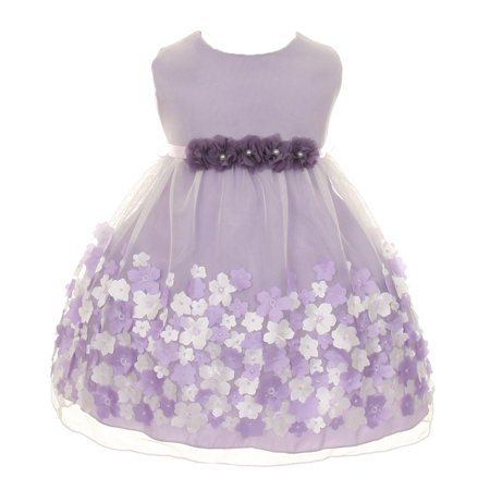 Baby Girls Lavender Taffeta Flowers Sleeveless Easter Dress 18M