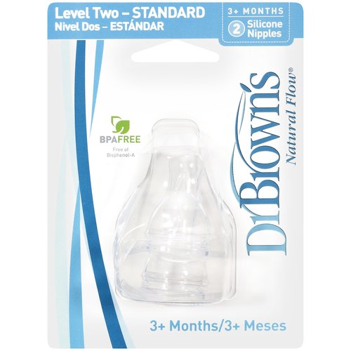 Dr. Brown's Natural-Flow Silicone Nipples, BPA-Free, Size 2, 2ct