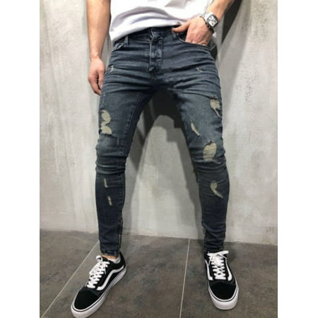 Mens Ripped Jeans Stretchy Skinny Slim Fit Denim Pants Destroyed Frayed Trousers