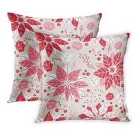 ARHOME Botanical Floral Christmas Pattern Red Poinsettia Flower Berry Bright Celebrate Pillowcase Cushion Cases 20x20 inch Set of 2