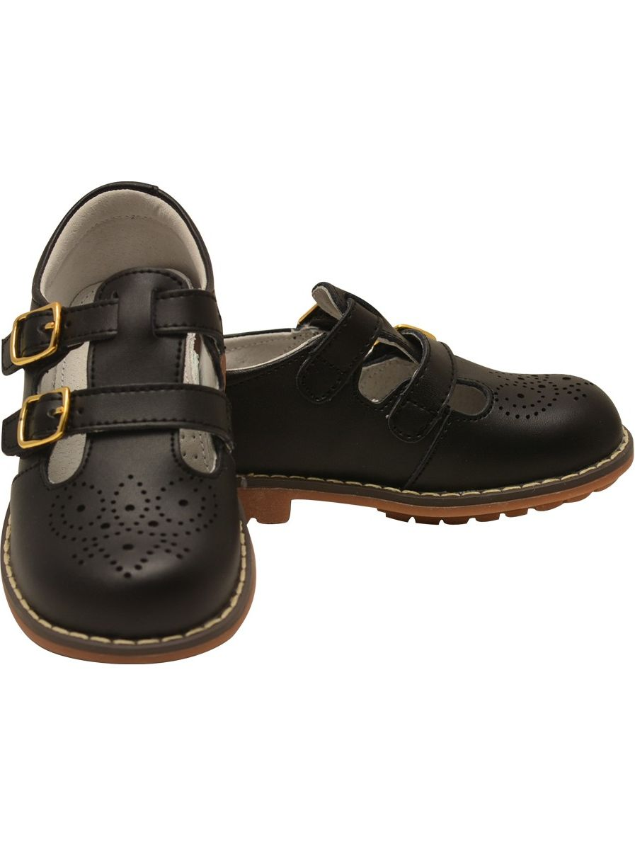 L`Amour Unisex Black Double T-Strap Buckled Leather Mary Jane Shoes
