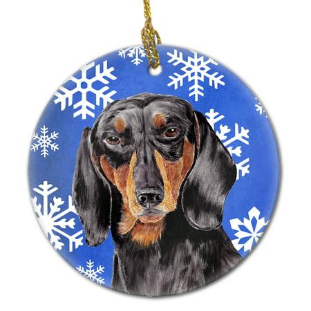 Dachshund Winter Snowflakes Holiday Ceramic Ornament SC9363 ()