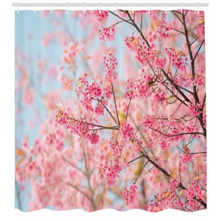 Floral Shower Curtain, Japanese Sakura Cherry Blossom Branches Full of Spring Beauty Picture, Fabric Bathroom Set with Hooks, Pale Pink Baby Blue, by Ambesonne - Cherry Blossom Baby Shower