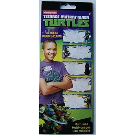 Teenage Mutant Ninja Turtle Names (Teenage Mutant Ninja Turtles Sticker Name Tag Multi Use Badges - 30)