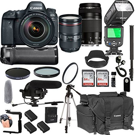 Canon EOS 6D Mark IIWith 24-105mm f/4 L IS II USM + 75-300mm III Lenses + 128GB Memory + Canon Camera Bag + Pro Battery Bundle + Power Grip + Microphone + TTL SpeedLight + Pro Filters,(24pc