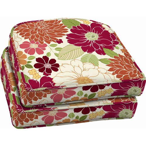 Better Homes and Gardens Outdoor Wicker Seat Cushions, Sorbet Floral, Set of 2
