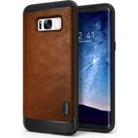 Ringke FLEX S Case for Samsung Galaxy S8 Plus, Coated Textured Leather TPU Shock Protection Case - Brown