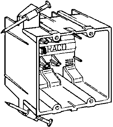 box pvc 2-gang nail-on switch