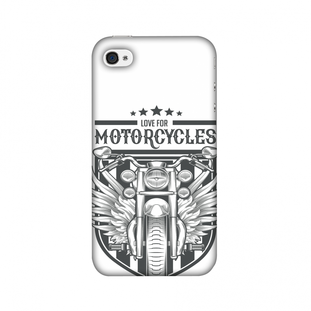iPhone 4S Case, iPhone 4 Case - Love for Motorcycles 3,Hard Plastic Back Cover, Slim Profile Cute Printed Designer Snap on Case with Screen Cleaning Kit
