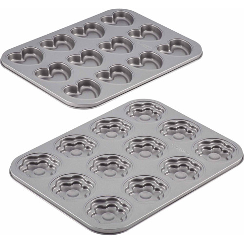 Cake Boss Specialty Bakeware 2-Piece Heart and Flower Molded Cookie Pan Set