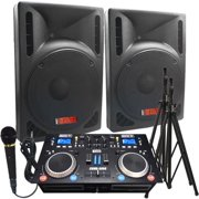 """DJ System - 2000 Watts! - Complete DJ System - Everything you need to DJ - 12"""" Powered Speakers"""