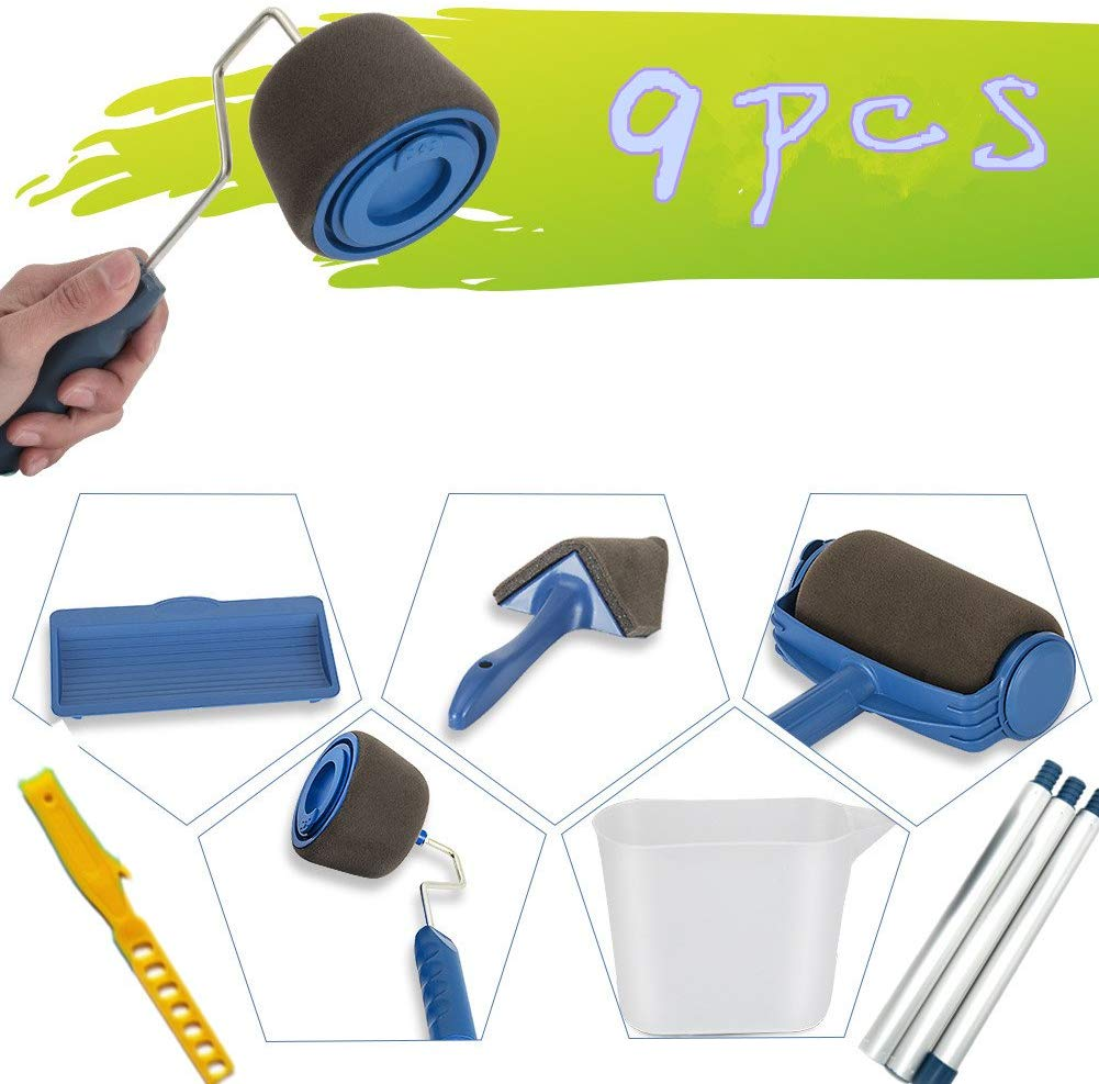 9pcs Set Paint Roller Brush Tools Set With Sticks Paint Roller Pro Decorate Runner Tool Painting Brush Set For House Wall School Office Wall Transform Your Room In Just Minutes Quickly Ceiling