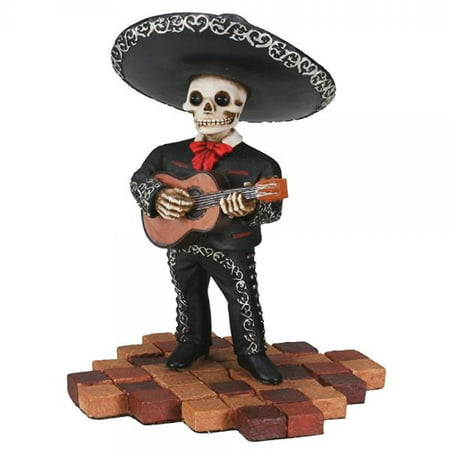 Short Skeleton Skull Black Mariachi Band Guitar Statue - Guitar Skeleton
