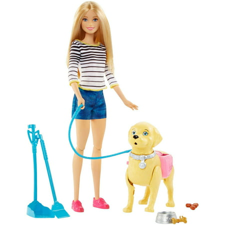 Barbie Walk & Potty Pup Set with Doll & Tail-Activated Pooping