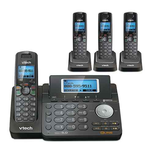 VTech DS6151-11 and 3 DS6101-11 2 Line Expandable cordless phone w  3 additional handsets by VTech