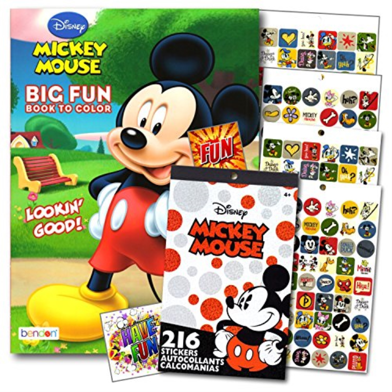 Mickey Mouse Coloring Book With Stickers Set - 96 Pg Mickey Coloring  Activity Book And Mickey Mouse Stickers Bundled With 2 Spec - Walmart.com -  Walmart.com