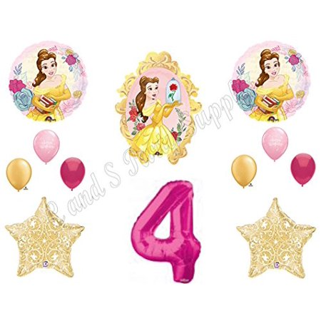 BEAUTY AND THE BEAST 4th Birthday Party Balloons Decoration Supplies Movie - Beauty And The Beast Party