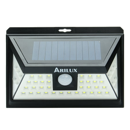 ARILUX Outdoor Solar Powered Wall Lights with Motion Night Sensor , 44 LED Super Bright Landscape Lighting Lamp for Garden Security ()