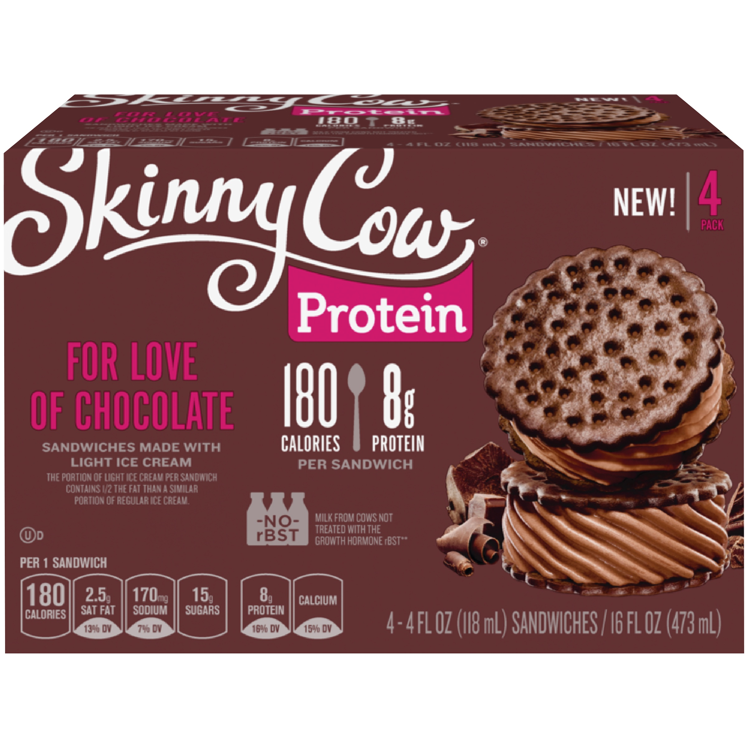 SKINNY COW For Love of Chocolate Ice Cream Sandwich – Delicious Light Chocolate Ice Cream Sandwich, 8 Grams of Protein and 180 Calories, SIZE