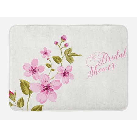 Bridal Shower Bath Mat, Spring Time Flowers Lilacs Bride Celebration Bachelorette Party, Non-Slip Plush Mat Bathroom Kitchen Laundry Room Decor, 29.5 X 17.5 Inches, Pale Pink and Green, Ambesonne