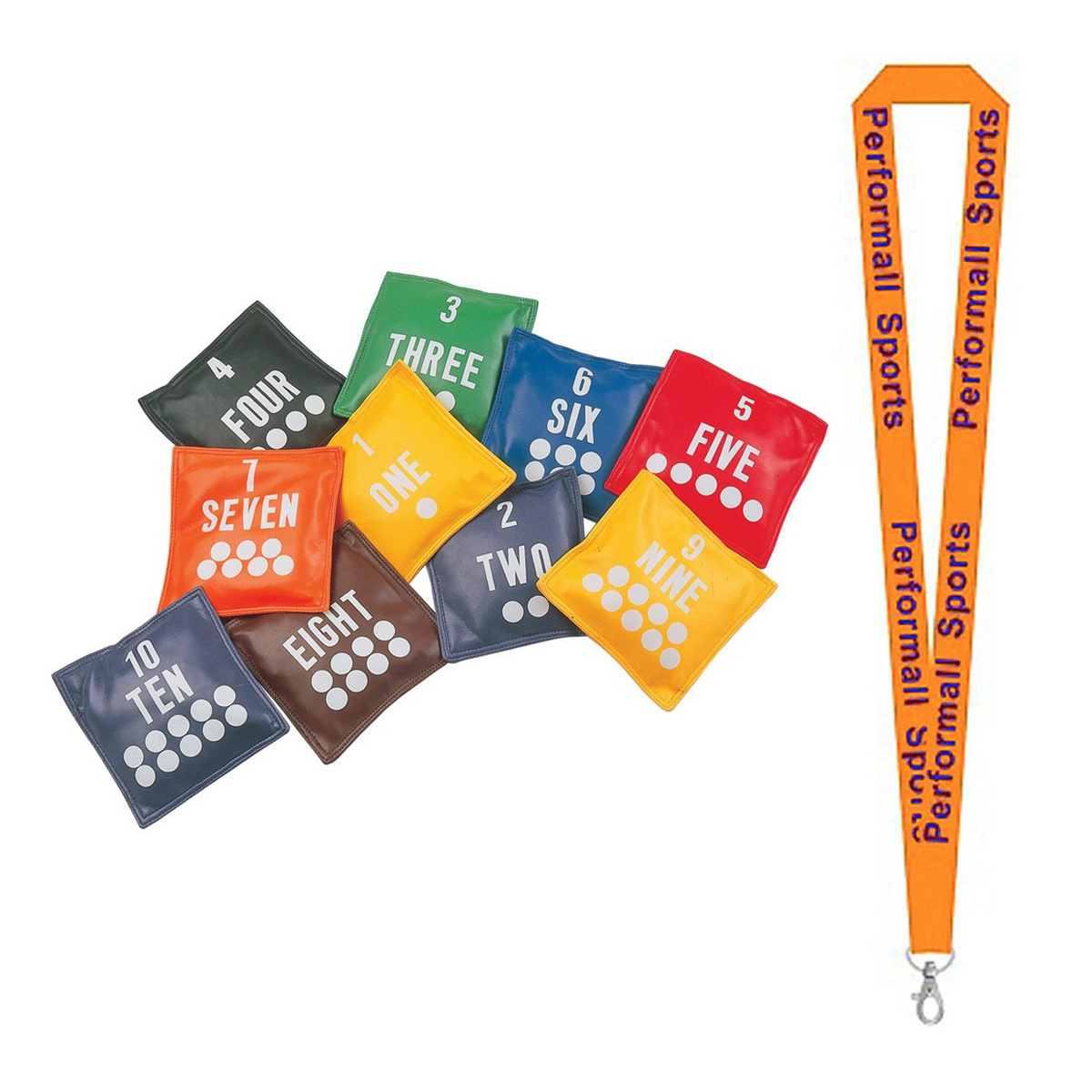 "Champion Sports Bundle: (Set of 10) 5"" Numbered Bean Bag Set Assorted   1 Performall Lanyard NB55-1P"