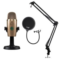 Blue Yeti Nano Microphone (Cubano Gold) with Knox Gear Boom Arm and Pop Filter