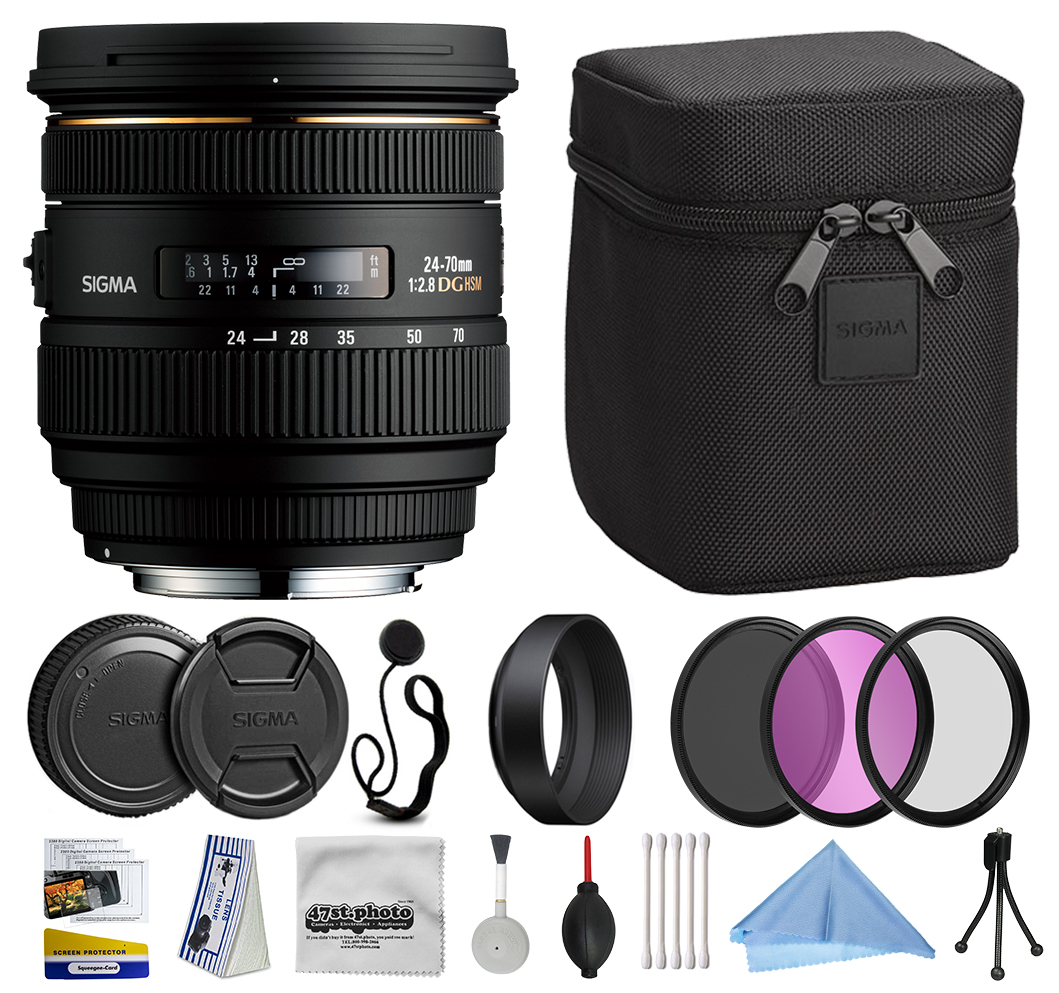 Sigma 24-70mm F2.8 IF EX DG HSM Lens for Canon (571101) with Beginner Accessories Kit includes 3 Piece Filter Set (UV-CPL-FLD) + Deluxe Cleaning Kit + Air Dust Blower + Cap Keeper
