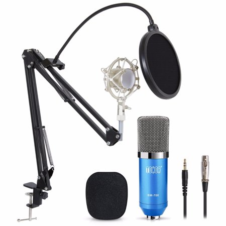 Condenser Microphone Recording Studio Podcasting Gaming Mic W/ Stand Shock Mount ()