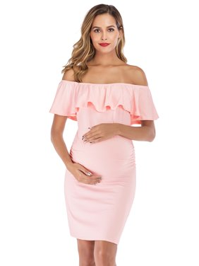Selfieee Women's Maternity Ruffles Dress Mother Slim Fitted for Photography for Women 00011 Pink Medium