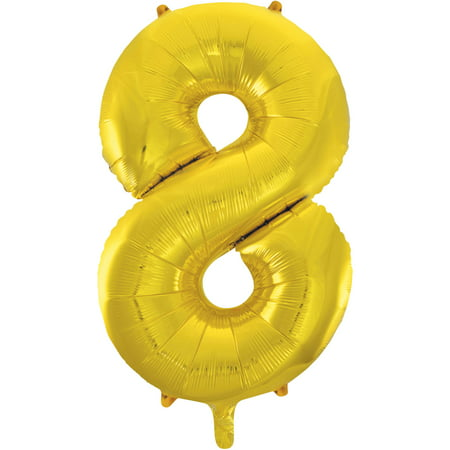 Gold Number Balloons (Foil Big Number Balloon, 8, 34 in, Gold,)