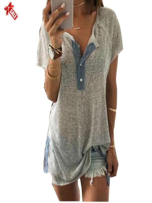 Women Loose Casual Button Blouse T Shirt Tank Tops L