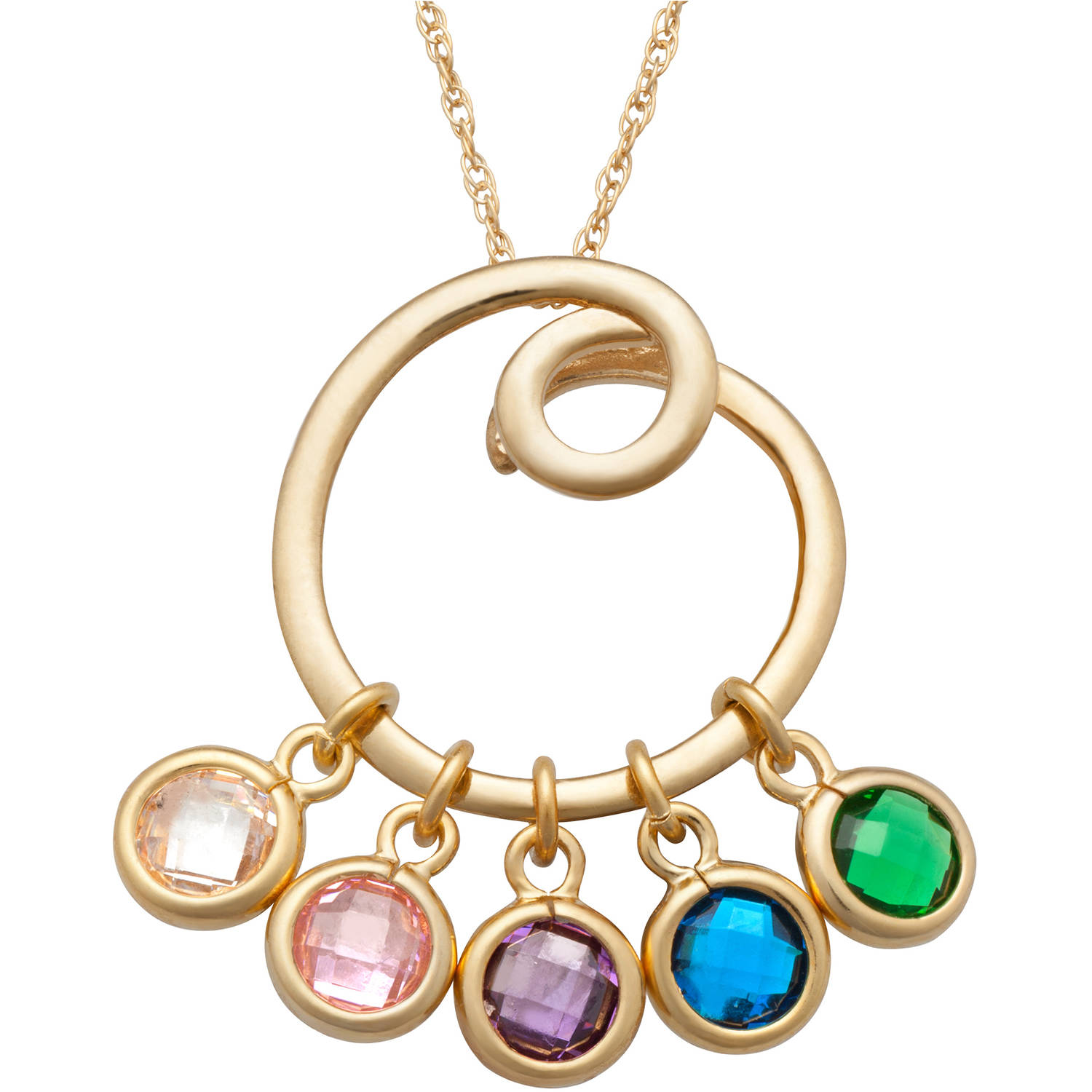 Family Jewelry Personalized Mother's Gold over Silver Swirl Slider Birthstone Necklace